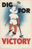 dig for victory poster of a child with a garden hoe and spade