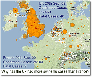 swine flu comparison chart france - uk