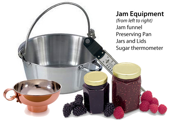 What equipment do i need to make jam, jam funnel, preserving pan, jars and lids, sugar thermometer