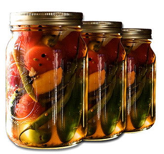 pickle chilli in jars